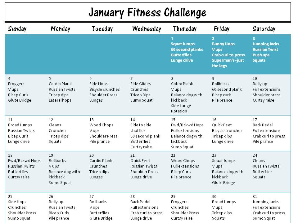 Calender Template For Fitness Challenge