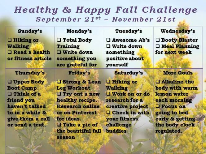 Fitness Challenges Weekly Schedule